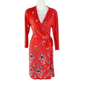 NWT The Limited red floral faux wrap dress
